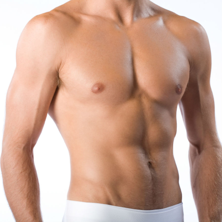Male model without shirt showing body contouring results.